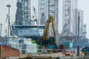 Exploration rigs and a support vessel at the Port of Dundee. Picture: Kim Cessford / DCT Media