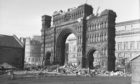 Dundee's famous Royal Arch being demolished in February 1964.