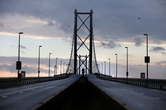 The Forth Road Bridge.