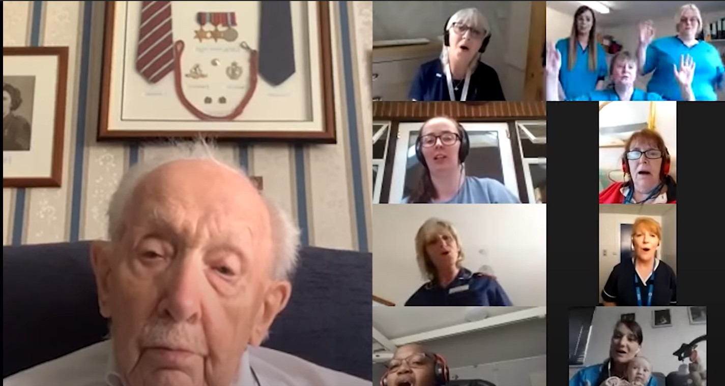 Captain Tom Moore with the Perth Royal Infirmary therapists (Top right)