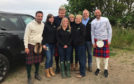 Claire Pollock (centre, front) and family with Gordon, Gino and Fred when they visited Ardross Farm