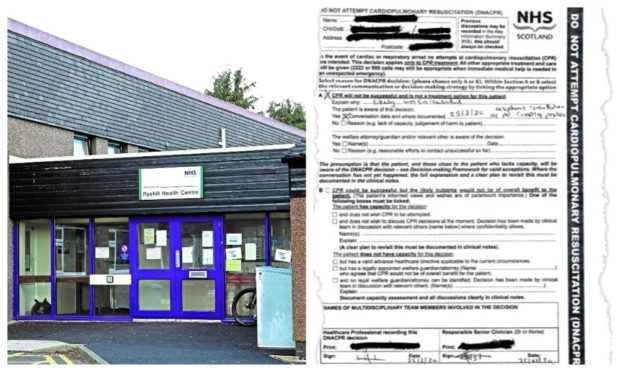 As reported in The Courier, a Do Not Resuscitate form was sent to a patient at the Ryehill Medical Practice in Dundee last week.