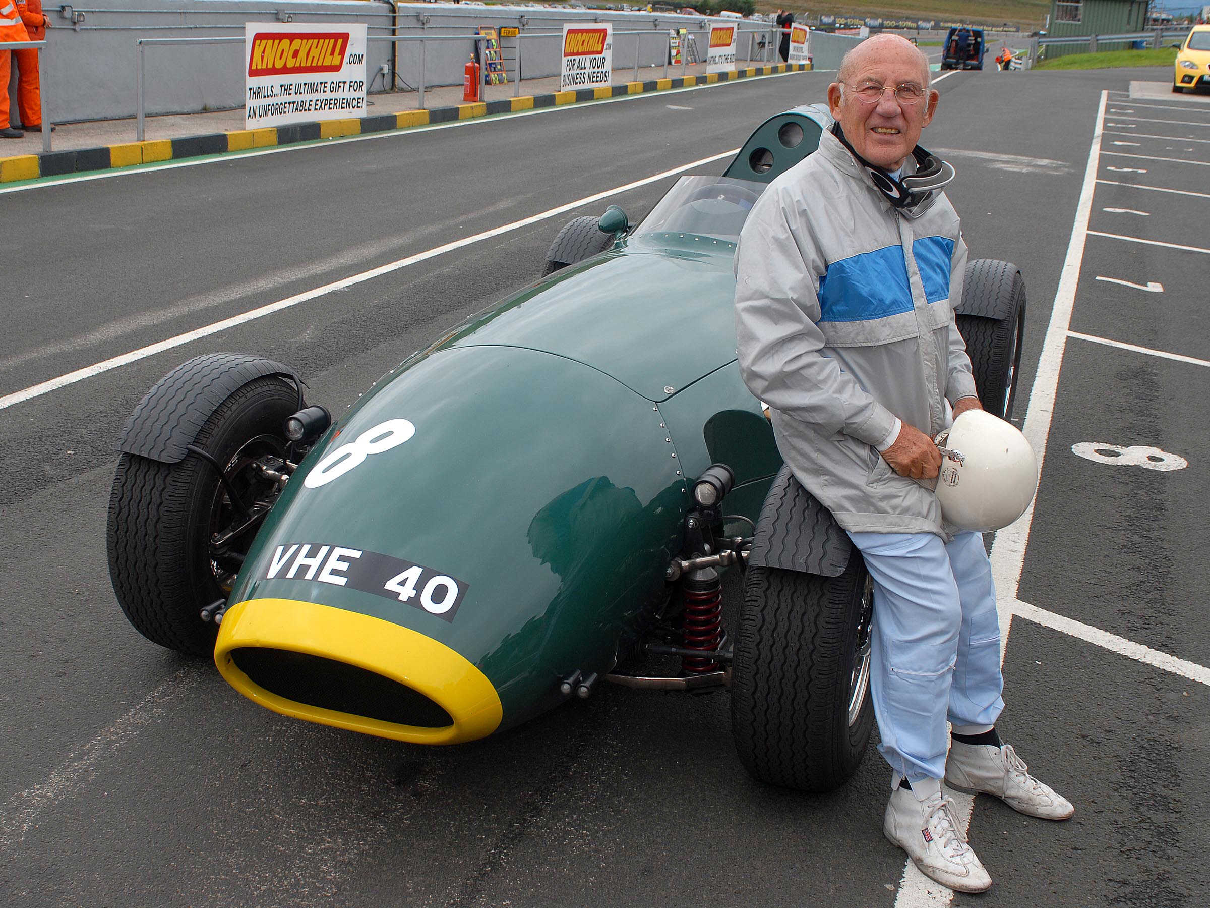 Sir Stirling Moss at Knockhill where he drove a replica Vanwall in 2007.