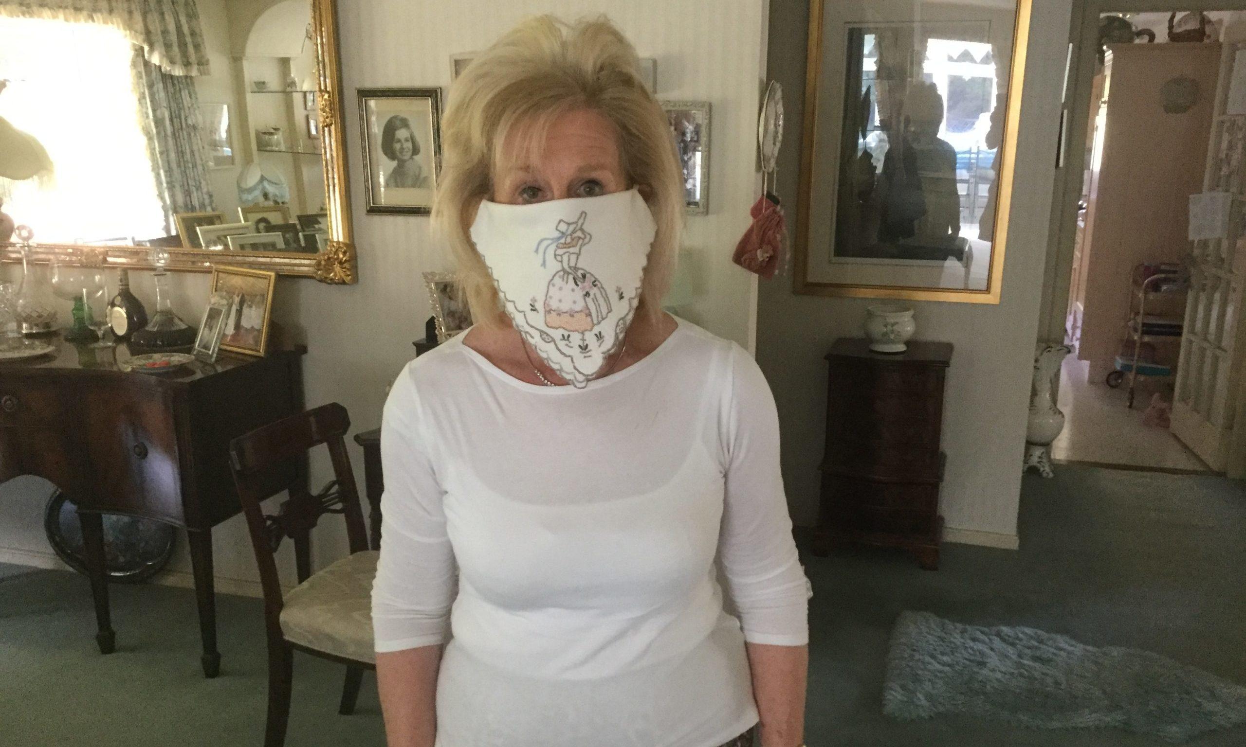 Vivien Scott wearing one of her mask creations.