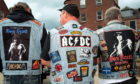 Fans celebrating AC/DC at Bonfest in Kirriemuir.