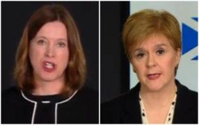 Dr Catherine Calderwood and Nicola Sturgeon at Sunday's briefing. (
