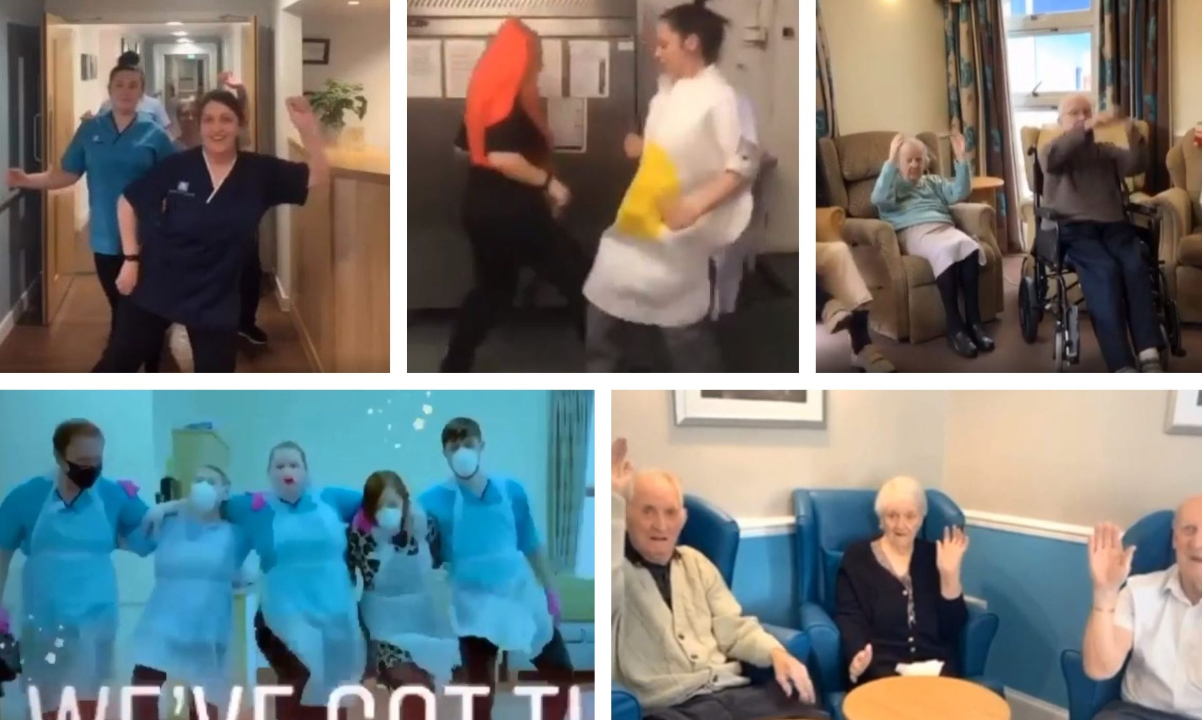 Balhousie staff and residents taking part in the TikTok Dance Challenge.