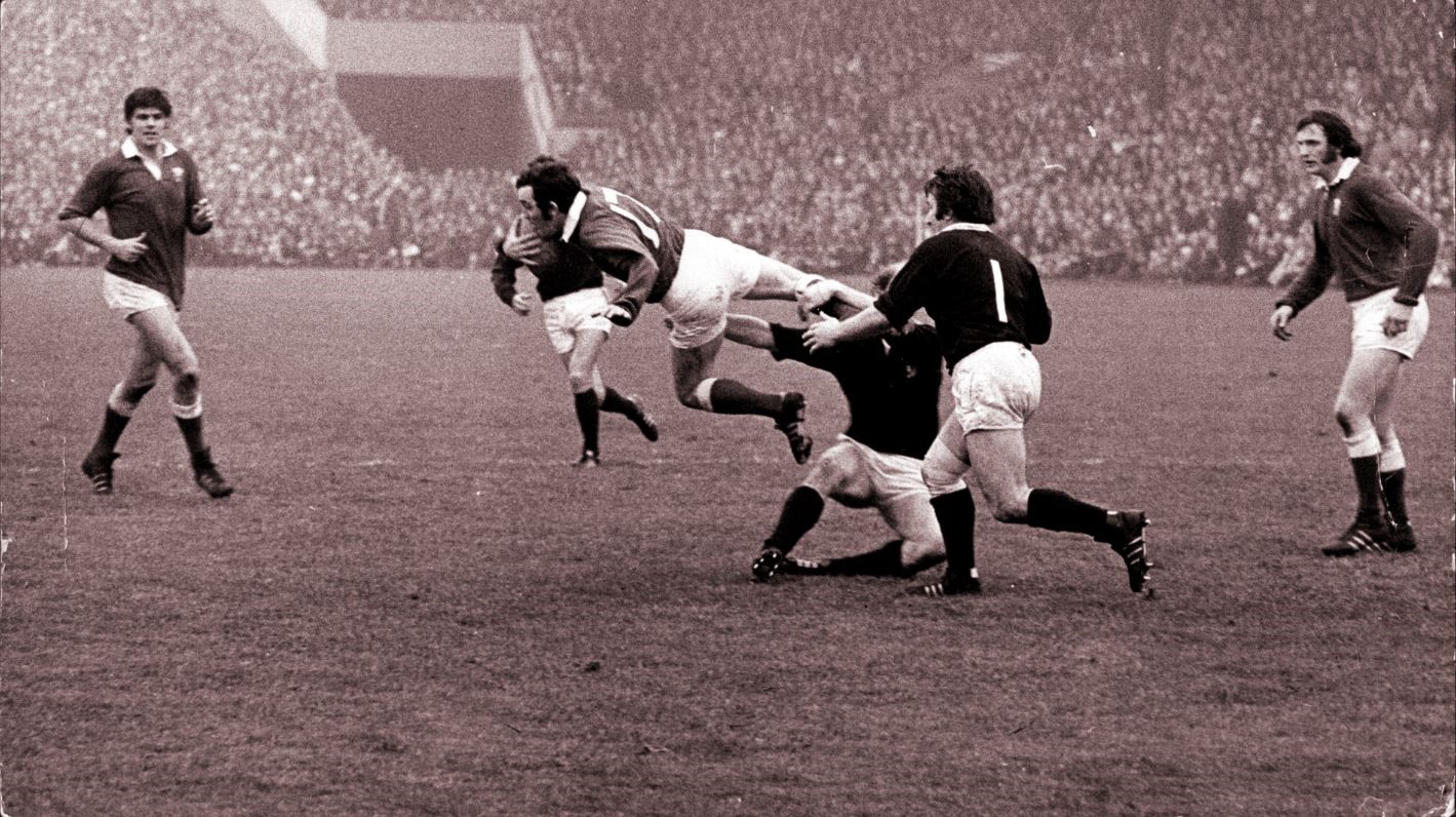 Scotland vs Wales in 1973 in  one of the many treasures in Dark Blue Blood.
