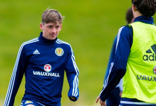 Ryan Gauld training with Scotland in 2016.