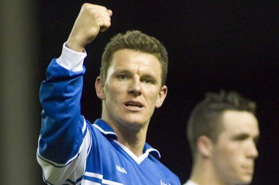 Martin Hardie celebrates scoring for St Johnstone.
