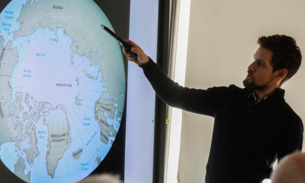 """The Courier, CR0015158, News, Scott milne story, Simon Cook, from Dundee University, is giving a talk titled """"Is Climate Change Thawing the Arctic"""" at the McManus. Picture shows; Simon Cook during his talk. Wednesday 9th October, 2019. Mhairi Edwards/DCT Media"""