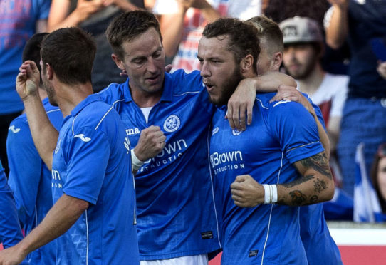 Stevie May celebrates with Steven MacLean after scoring in the Europa League.