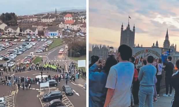 Left: The celebration outside Victoria Hospital in Kirkcaldy. Right: the impromptu gathering on Westminster Bridge.