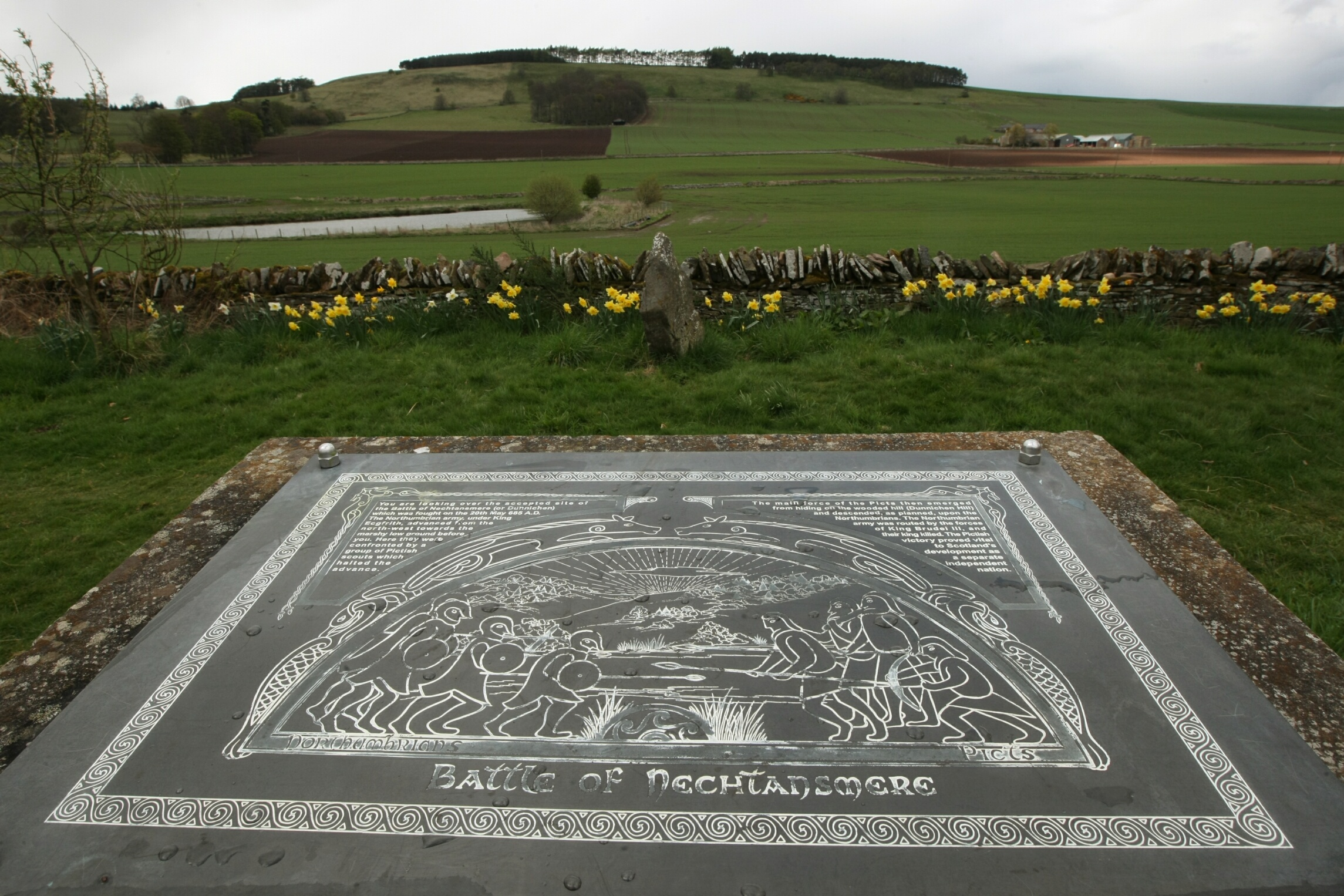 The Battle of Dun Nechtain in 685 AD is said to have been fought in the shadow of Dunnichen Hill, near Forfar.