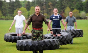 Grant Ryrie, Norman McConnachie, from Storm Leisure Military Fitness, Chris Simpson and Andrew Mewse will be part of a team of 20 who will carry a 68-kilo tractor tyre from Holburn Bridge to Peterculter to raise funds for the Deeside Forget-Me-Not charity.