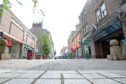 Arbroath High Street. The Covid-19 restrictions saw shops pull down the shutters.