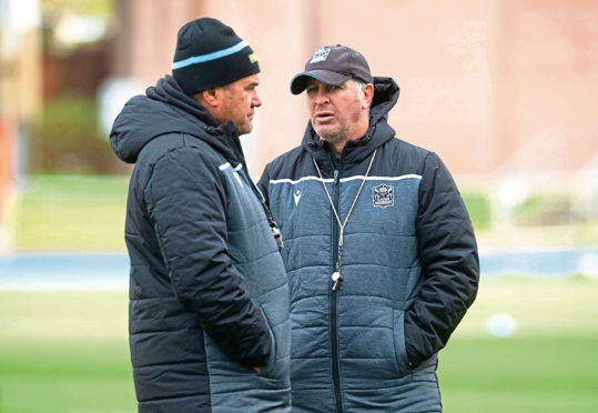 GLASGOW, SCOTLAND - NOVEMBER 12: Glasgow Head Coach Dave Rennie (L) and coach Jason O'Halloran are pictured during a training session at Scotstoun, on November 12, 2019, in Glasgow, Scotland. (Photo by Craig Foy / SNS Group / SRU)