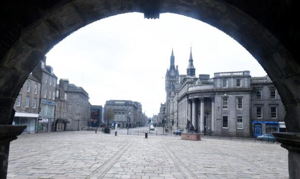 Aberdeen's Castlegate during lockdown.