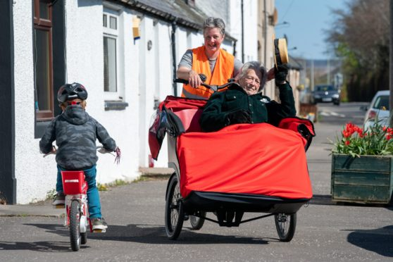 Rowena Ross and her dad Johannes Surkamp and the new Cycling Without Age trishaw for the Auchterarder area.