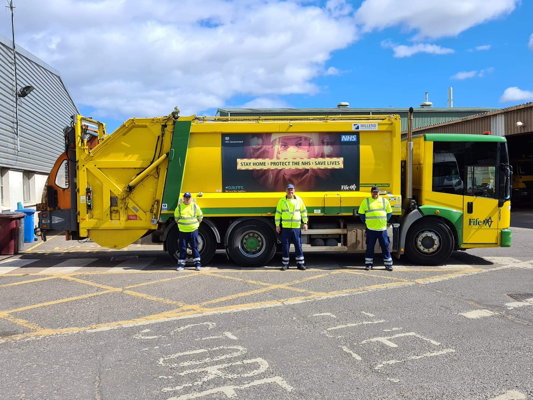 Bin crews across Fife are working in challenging circumstances but getting the 'Stay at Home' message out.