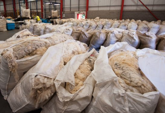 Bags of wool are building up at the British Wool depot, much of it unsold from 2019.