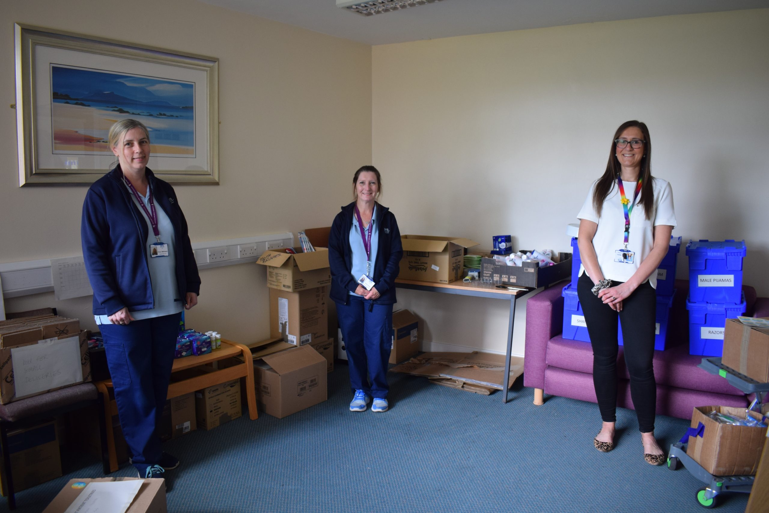 Photo Caption:- Members of the new team redeployed to distribute 'care boxes' to hospital wards across Fife.