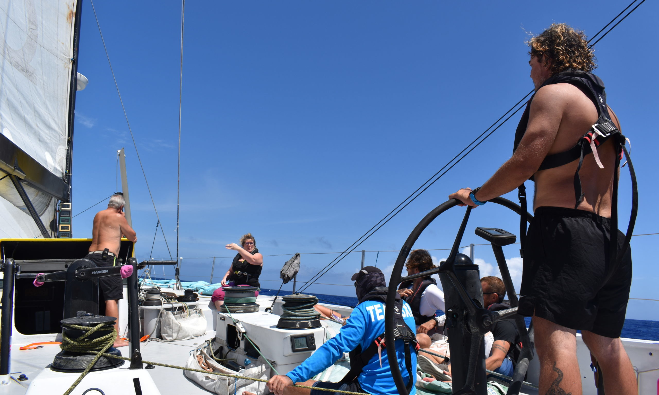 Claire gives instruction to the crew members