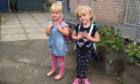 Cousins Merida Stephens and Sophia Goldie on their first day at Crossford Nursery.