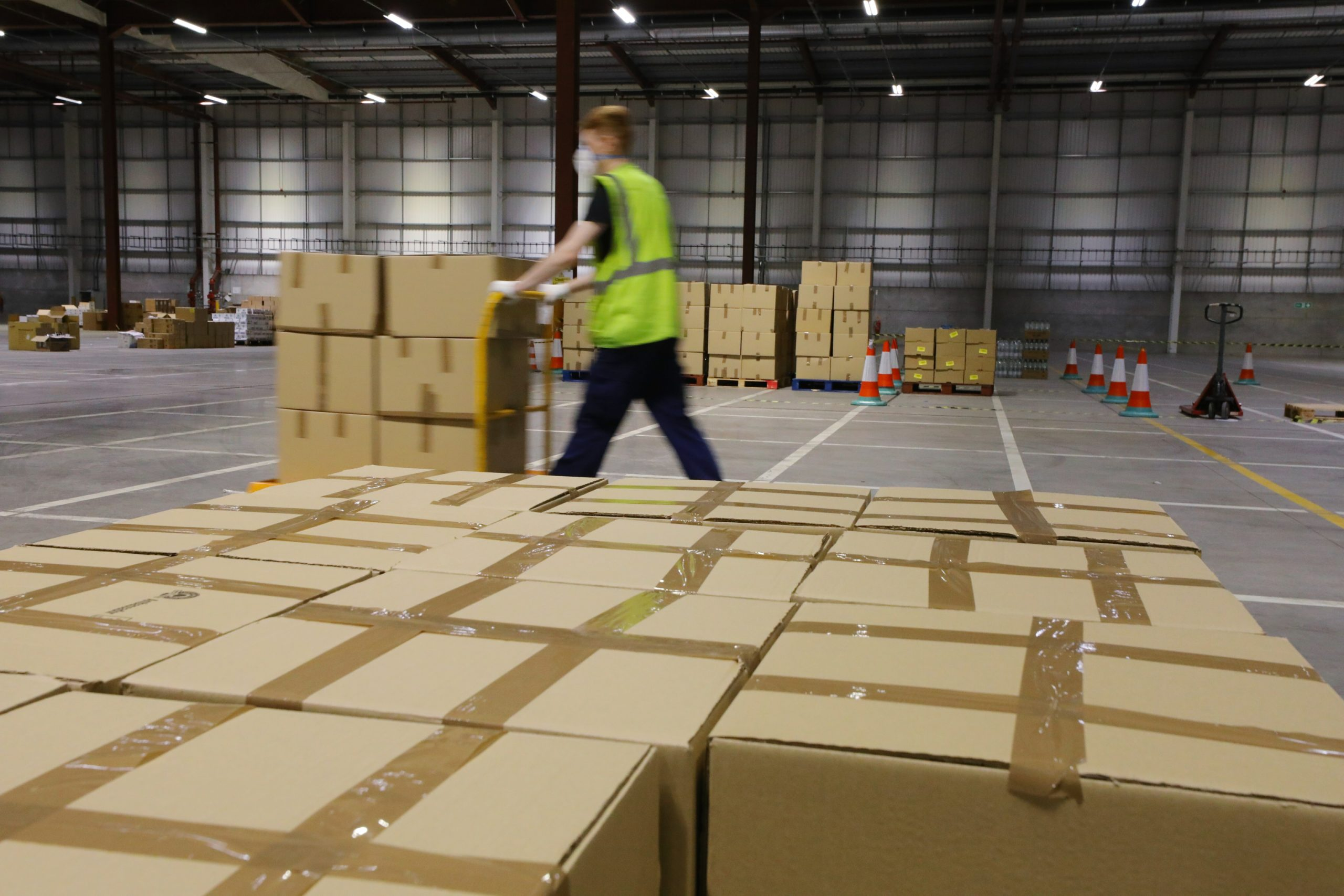 Boxes of food ready for distribution at the Michelin Plant in Dundee.