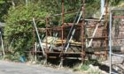 The rusty scaffolding behind the Tay Taxis office on Clepington Road in Dundee.