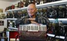 Usan fisherman David Pullar who has died. Pic shows David in his purpose built accordion music room at his home at Usan, Angus  pic Paul Reid
