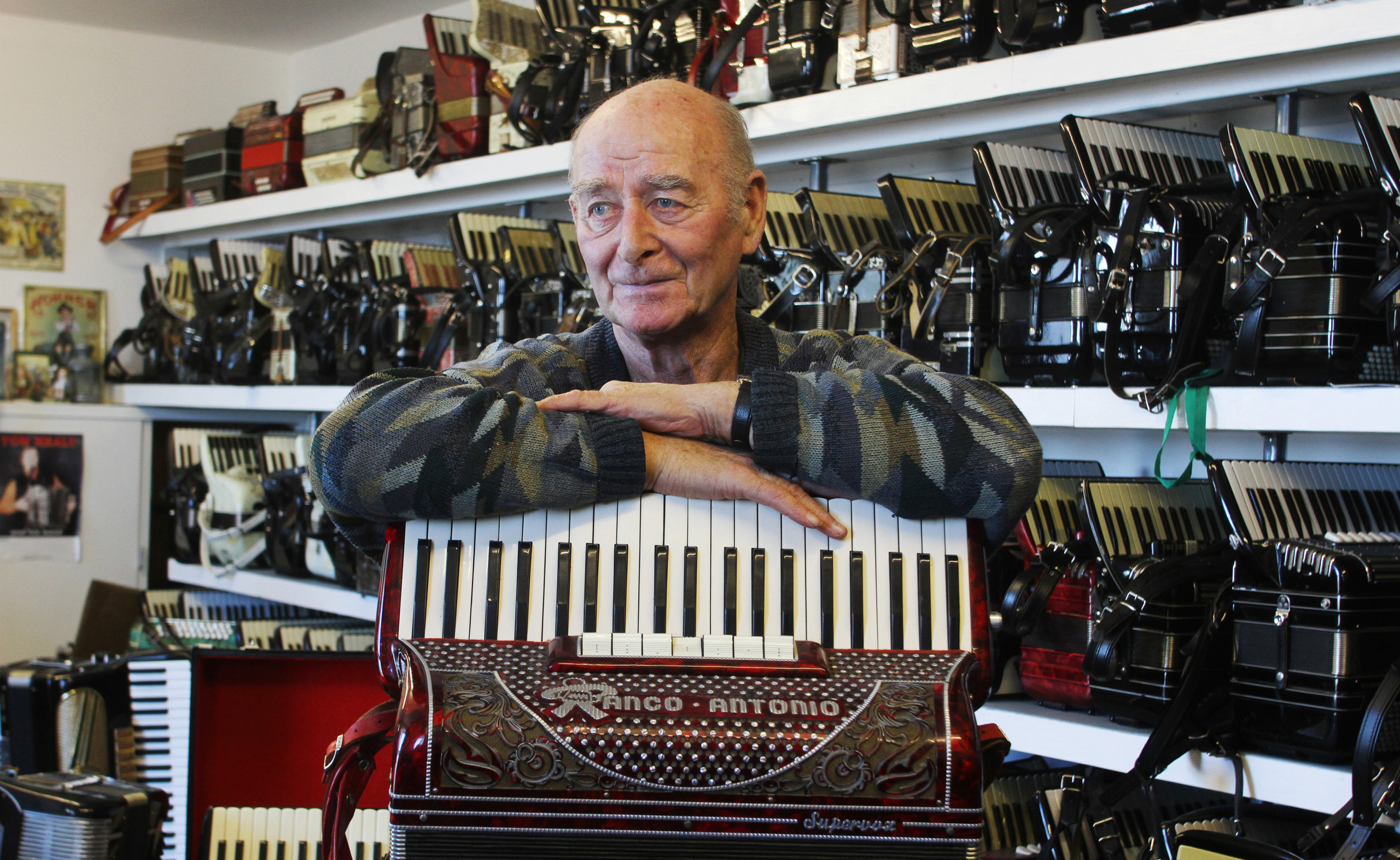 Usan fisherman David Pullar who has died. Pic shows David in his purpose built accordion music room at his home at Usan, Angus  pic Paul Reid