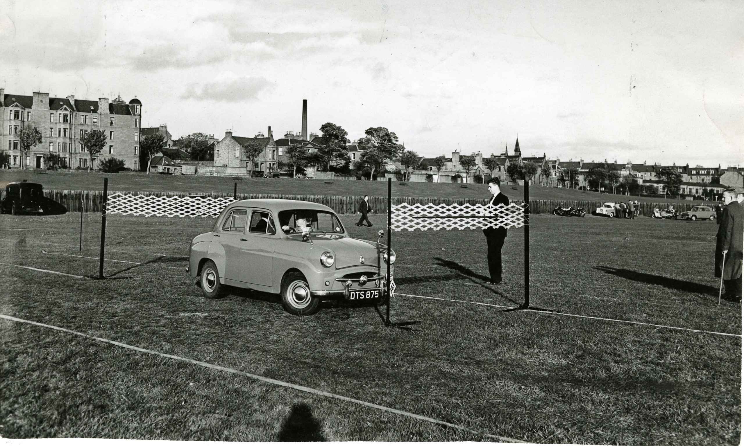 A car does a reversing test in a driving proficiency competition at Riverside Park, Dundee, in October 1959.