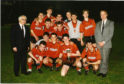 United's 1990 Youth Cup winning side. Back row (left to right): Unnamed BP representative, McMillan, Ferguson, Dailly in front, Clark, Bollan in front, Garden, Mearns, McInulty, Peter Gardiner (SFA representative and Stirling Albion chief). Front row (left to right): Conville, Parks, Johnson, McLaren and Lindsay.