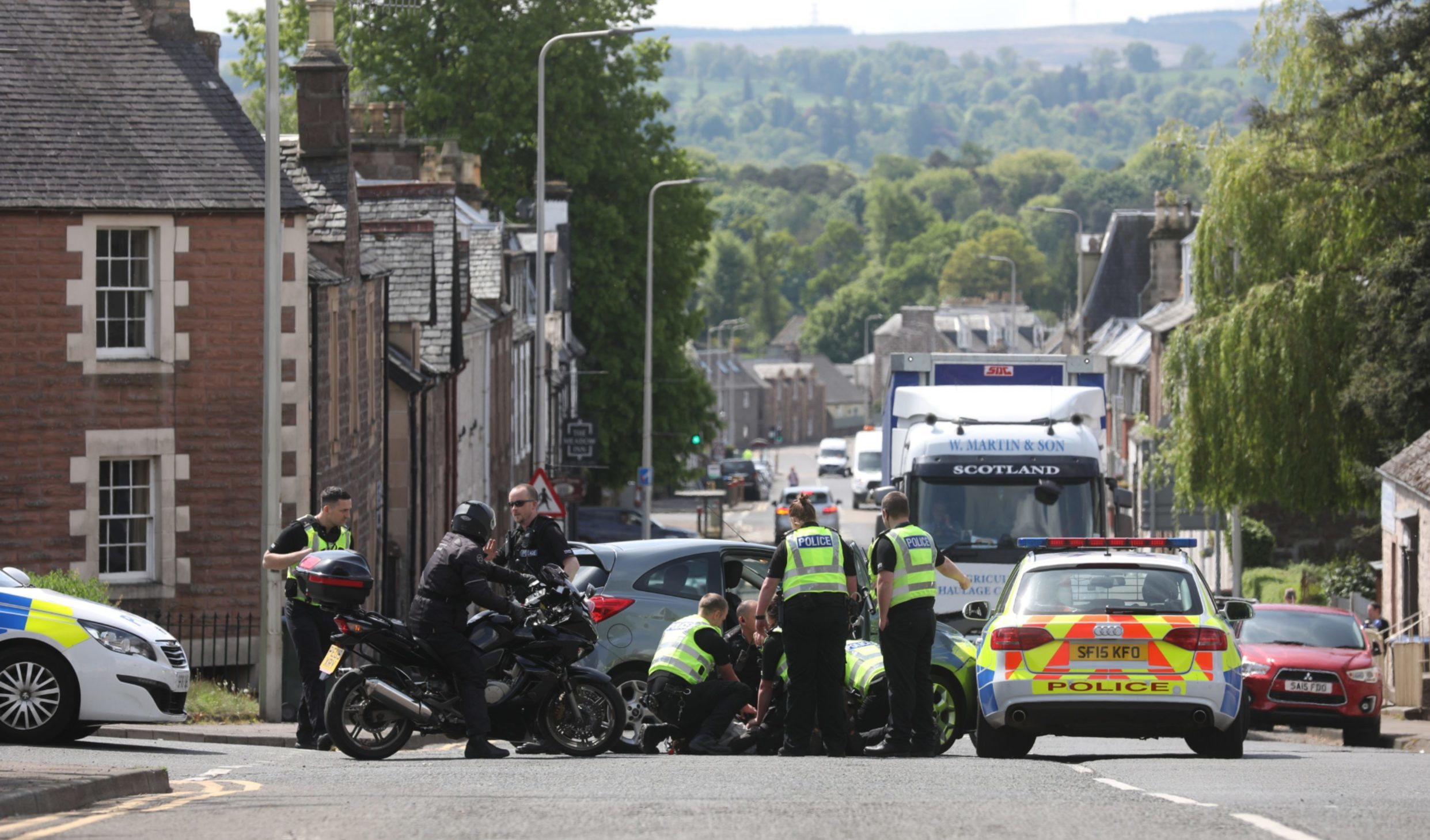 Police on the A85 in Crieff.