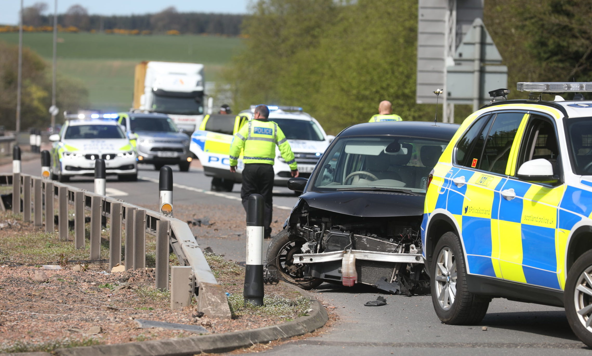 The crash on the A90 at the Tealing turnoff.