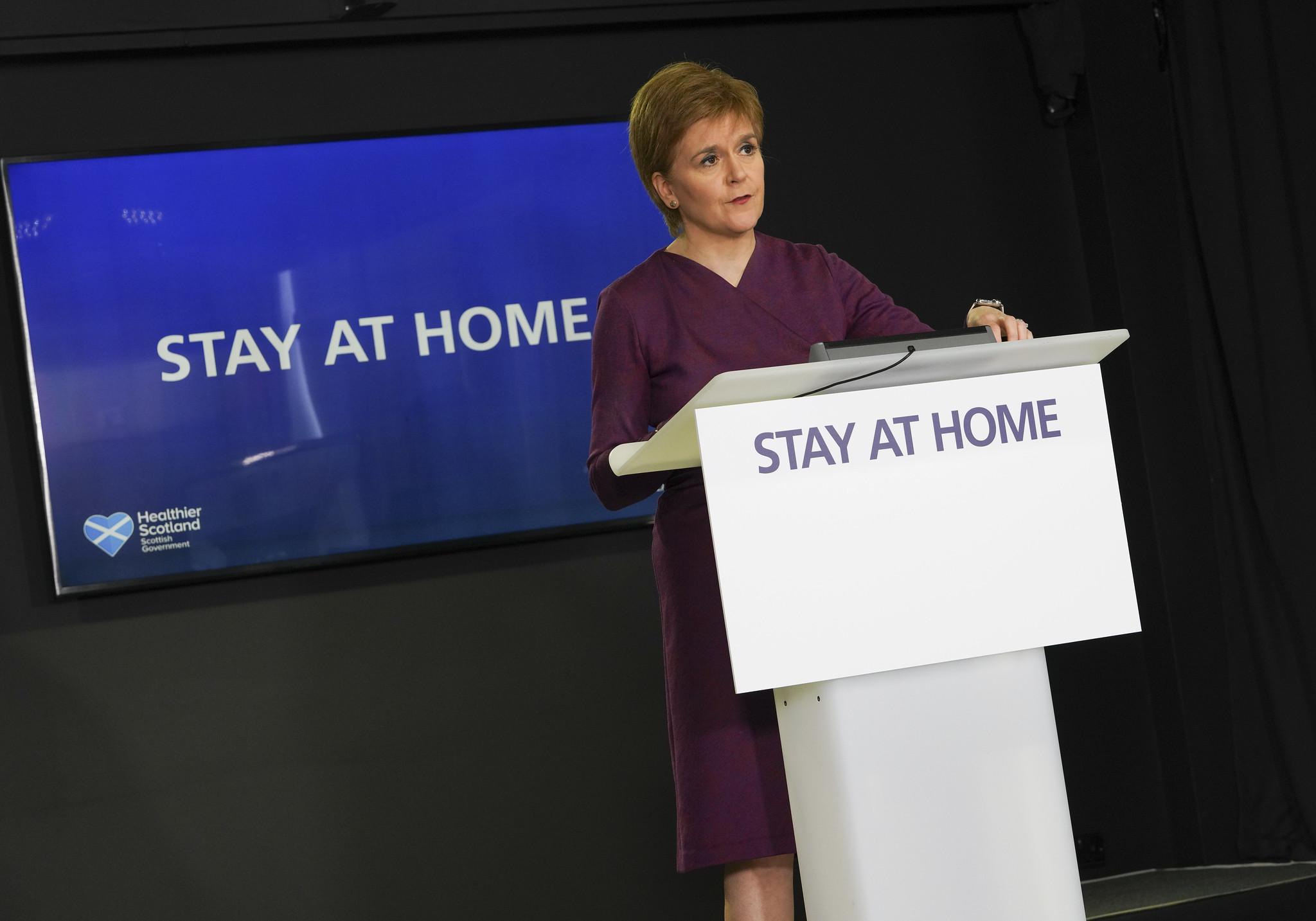 First Minister Nicola Sturgeon speaking during her daily coronavirus briefing in St Andrew's House, Edinburgh.