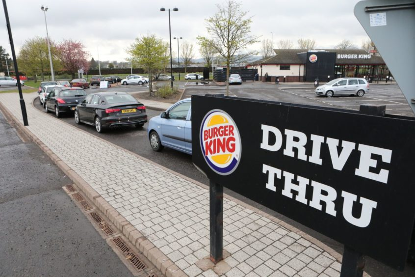 Burger King queues during lockdown at the Kingsway Retail Park.