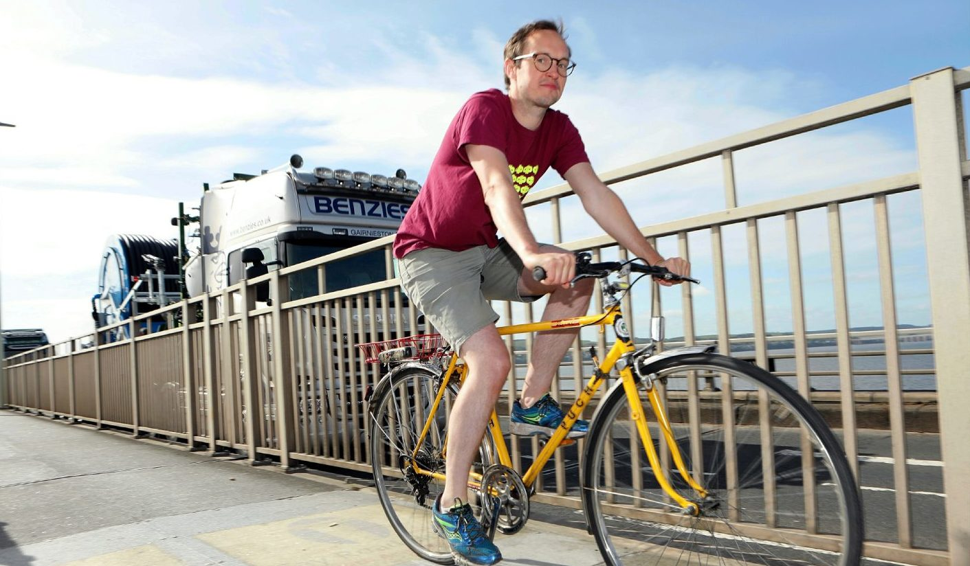 Russell Pepper of Dundee Cycling Forum cycling on the Tay Road Bridge.