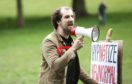 Protester Daniel Clark took centre stage.