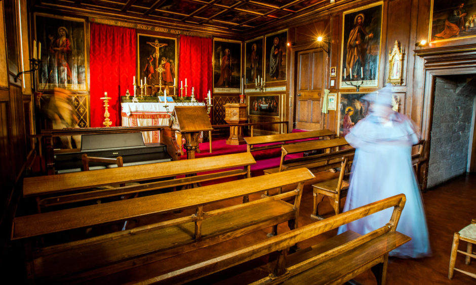 A ghostly figure in the chapel of Glamis Castle...