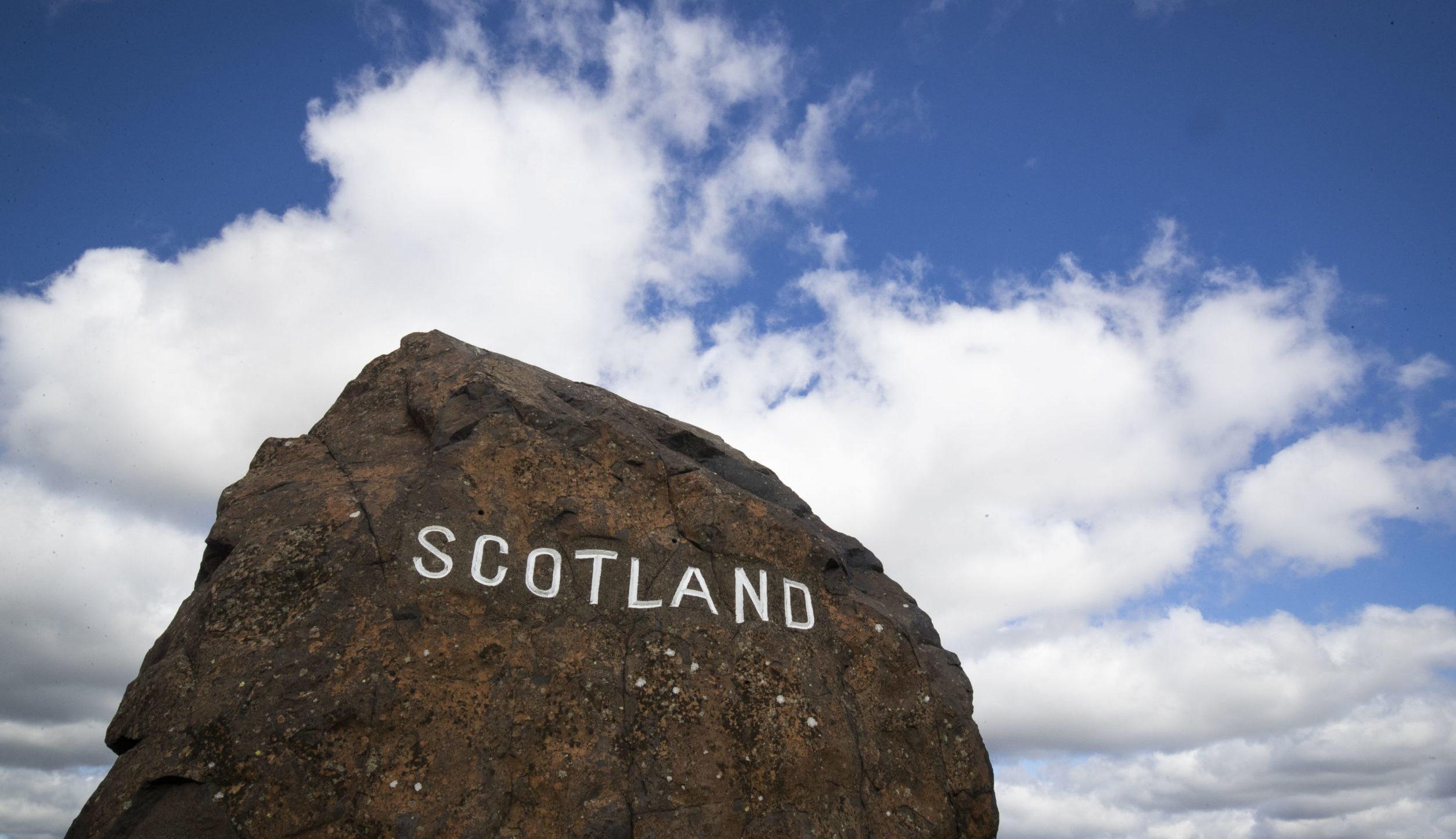 The Scotland-England border on the A68 near Jedburgh in the Scottish Borders.