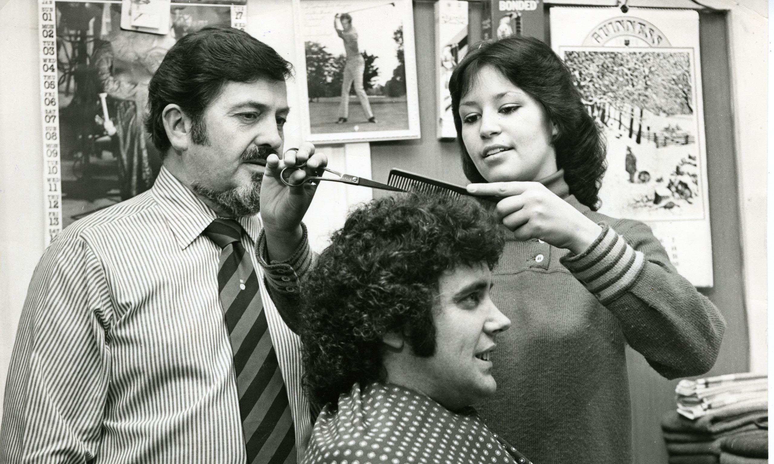 Hairstyles of the 1970s! Client Alex Ross gets his curly mop chopped in Dundee in January 1978.