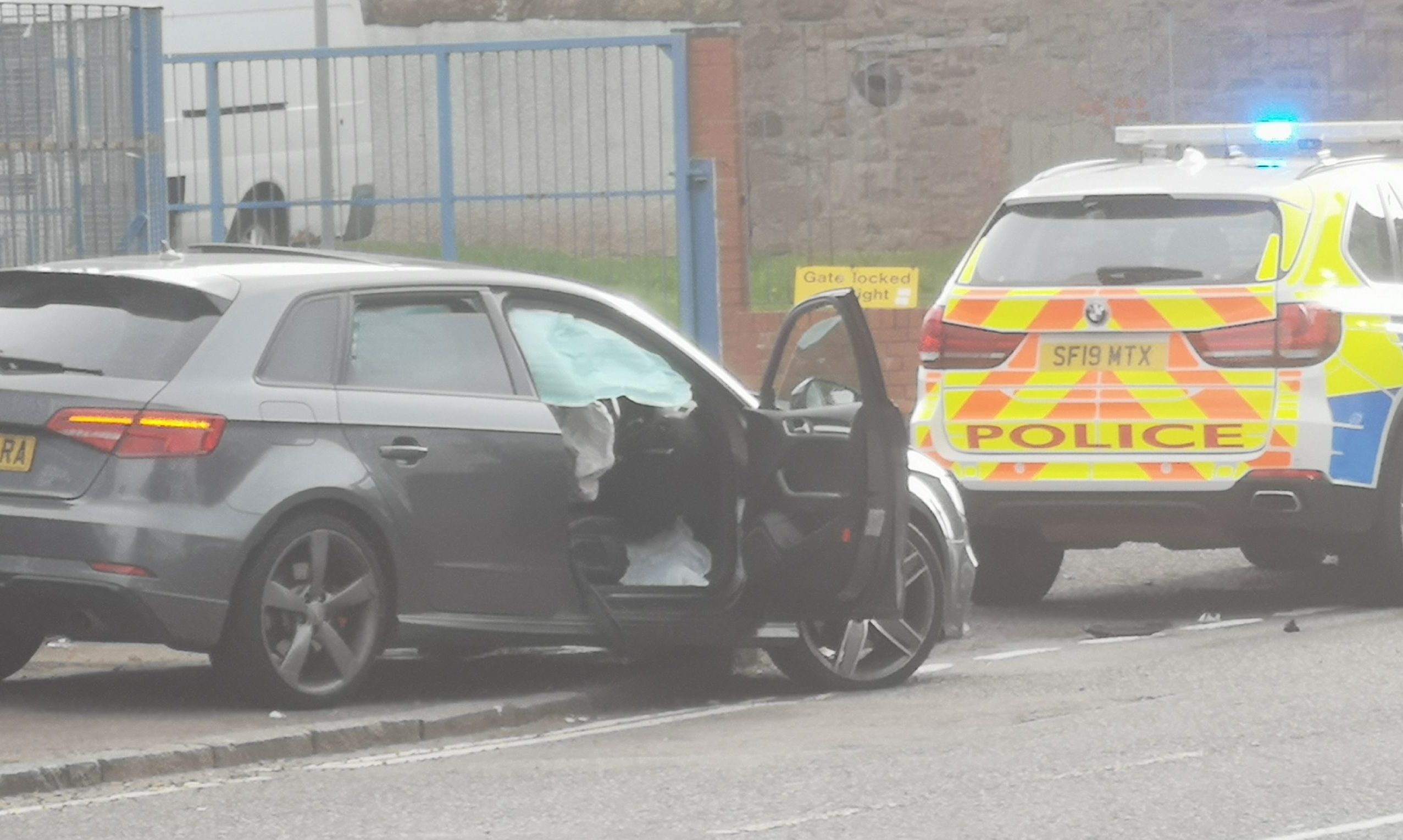 The smashed car on Clepington Road this morning.