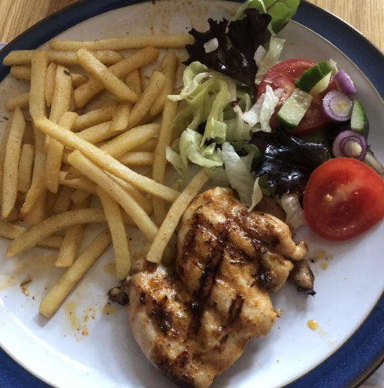 Nando's style peri peri chicken dinner with chips and salad