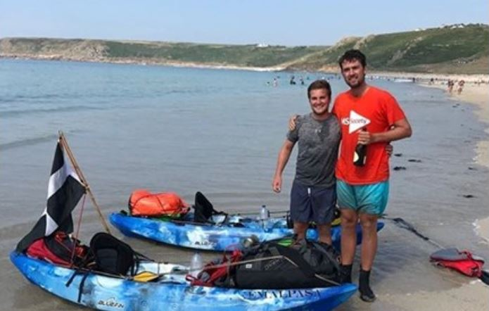Jack Gatacre (right) with friend Raf Le Cornu at the end of their London to Land's End challenge in 2018.