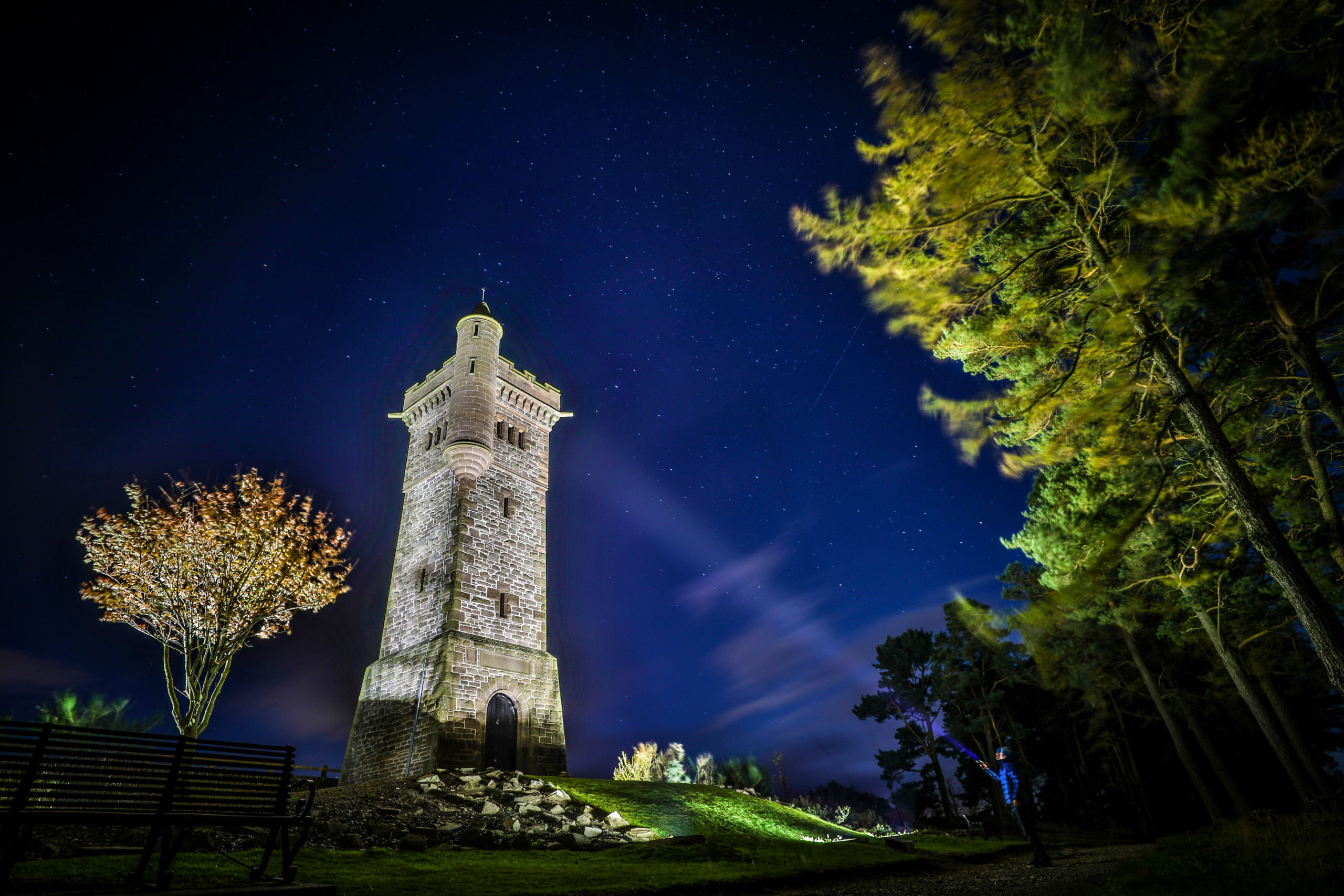 The Balmashanner memorial will be lit to mark VE Day and the heroes of the pandemic frontline.