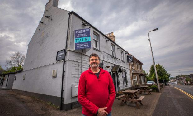 David Reekie outside Kinnears Inn, Scone