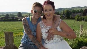 Kirsty Maxwell and Nadia Huggan on their wedding day.