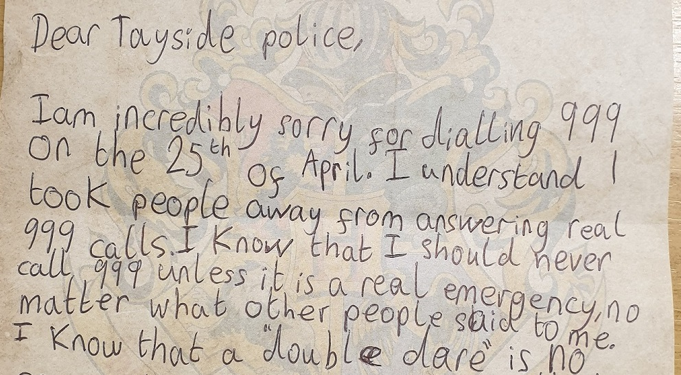 The ten-year-old wrote a note of apology to police.